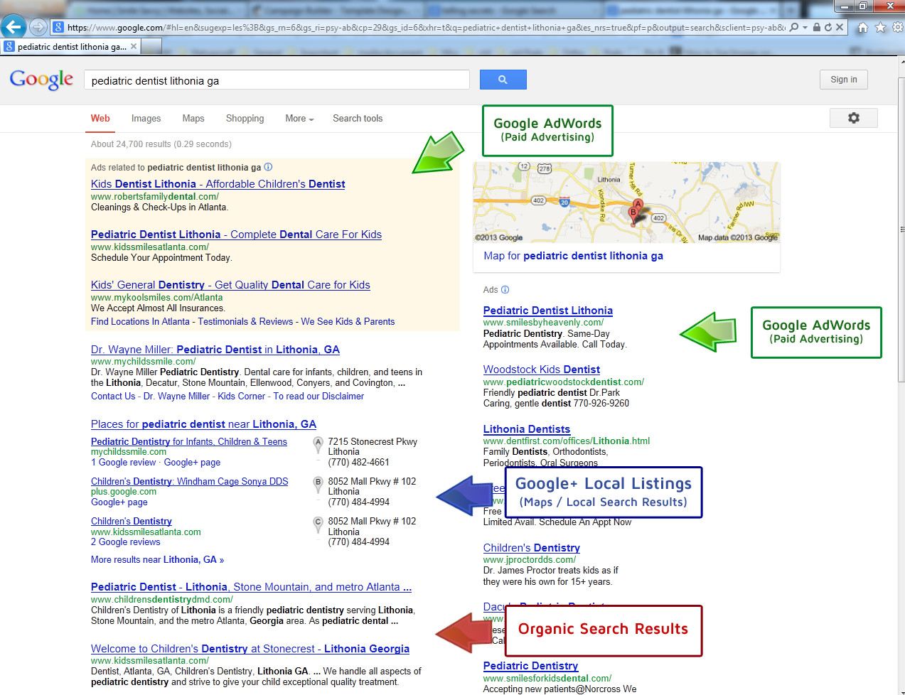 Google Search Page Layout - SEO Houston Company is full service Marketing Company